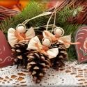 Barna kötényes angyalok, Karácsonyi, adventi apróságok, Karácsonyfadísz, Karácsonyi dekoráció, Fonás (csuhé, gyékény, stb.), 3 db tobozos angyalka. Azoknak ajánlom, akik szeretik a természetes anyaggal díszített karácsonyfát..., Meska