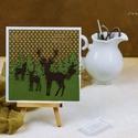 Karácsonyi képeslap, Dekoráció, Karácsonyi, adventi apróságok, Naptár, képeslap, album, Ünnepi dekoráció, Egyedi, kézzel készült képeslap. Domborított,csiszolt, minőségi papírokkal díszítve. A csomag 1 db k..., Meska