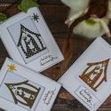 Betlehemes  karácsonyi képeslap, Dekoráció, Naptár, képeslap, album, Karácsonyi, adventi apróságok, Ünnepi dekoráció, Egyedi, varrott,  kézzel készült képeslap. 3D-s, minőségi papírokkal díszítve. A csomag 3 db képesla..., Meska