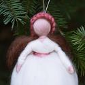 Fehér angyal, Dekoráció, Ünnepi dekoráció, Karácsonyi, adventi apróságok, Karácsonyfadísz,  1 db tűnemezelt angyalka Köszönöm, hogy boltomban jártál! Mosollyal.Ilda  Az ár egy angyalkára vona..., Meska