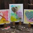 Szeretettel, Dekoráció, Naptár, képeslap, album, Képeslap, levélpapír, Egyedi, kézzel készült képeslap. A csomag 3db képeslapot és borítékot tartalmaz. Mérete:12,5x 13,5cm..., Meska