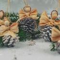 Fehér tobozos angyalok, Dekoráció, Karácsonyi, adventi apróságok, Ünnepi dekoráció, Karácsonyfadísz, Karácsonyi dekoráció, 5 db tobozos angyalka. Azoknak ajánlom, akik szeretik a természetes anyaggal díszített karácsonyfát...., Meska