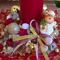Bordó karácsonyi, téli asztaldísz gyertyával, Dekoráció, Otthon, lakberendezés, Dísz, Asztaldísz, Virágkötés, Az üvegtálra (21x21 cm-es) rögzítettem a tűzőhabot, közepére került a gyertya, mellé a kerámia réns..., Meska
