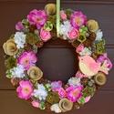 Madárkás ajtódísz, kopogtató, Dekoráció, Otthon, lakberendezés, Dísz, Ajtódísz, kopogtató, Virágkötés, A szalma koszorúalapot bevontam rózsaszínű anyaggal, majd rögzítettem a sok-sok termést, virágot, s..., Meska