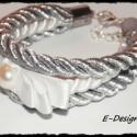 Ezüst masnis, Ékszer, Karkötő, 2 ezüst és egy fehér zsinór különleges egyvelege, egy fehér masnival. , Meska