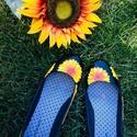 Nyári napraforgó mintás fekete balerina, Ruha, divat, cipő, Cipő, papucs, Festett tárgyak, Nyárra tökéletes, élénk színű napraforgó mintás, fekete balerina cipő.   Más színű és fazonú cipőre..., Meska