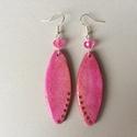 Pink fülbevaló, 6,5 cm hosszú, decoupage technológiával készí...