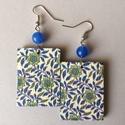 Azulejo fülbevaló, 5 cm hosszú, decoupage technológiával készíte...