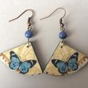 Kék pillangó fübevaló, Ékszer, Fülbevaló, 3,5 cm hosszú, decoupage technológiával készített körcikk alakú fülbevaló, hozzáillő csis..., Meska