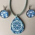 Azulejo No.2 ékszerszett, Ékszer, Ékszerszett, Fülbevaló, Nyaklánc, Az ékszerszett nyakláncból és fülbevalóból áll. A nyaklánc medálja 4 cm hosszú, decoupage technológi..., Meska