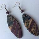 Textilbatik No.1 fülbevaló , Ékszer, Fülbevaló, 6,5 cm hosszú ellipszis alakú fülbevaló, hozzáillő gyönggyel. Szín-és fonákoldalon is az a..., Meska