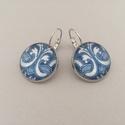 Azulejo No.6 francia kapcsos fülbevaló, Ékszer, Fülbevaló, Az azulejo díszítésű, üveglencsés fülbevaló ezüst színű, kör alakú keretbe foglalt és francia kapocc..., Meska