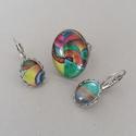 Art No.1 ékszerszett, Ékszer, Gyűrű, Ékszerszett, Fülbevaló, Az üveglencsés ékszerszett gyűrűből és fülbevalóból áll. Az ovális alakú, üveglencsés gyűrű ezüst sz..., Meska