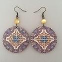 Korallos azulejo No.3 fülbevaló, Ékszer, Fülbevaló, A fülbevaló 5 cm hosszú, decoupage technológiával készült, kör alakú és hozzáillő gyöngy díszíti. A ..., Meska