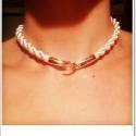 Elöl kapcsos zsinór nyaklánc és bőr nyaklánc alap, Ékszer, Nyaklánc, -Bézs zsinórból készült nyaklánc  arany színű, műanyag első kapoccsal.  Hossza: 48 cm   -F..., Meska