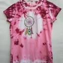 Batikolt ÉS kézzel festett álomfogómintás póló, Ruha, divat, cipő, Gyerekruha, Kamasz (10-14 év), Festett tárgyak, Fogtam egy 14 éves lányoknak való (in extenso márkájú)  fehér pólót, befestettem rózsaszínre, meg b..., Meska