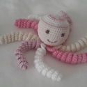 Horgolt polip, Játék, Baba-mama-gyerek, Baba játék, 100% mercerizált pamutfonalból készült babajáték.  A szemek és a száj hímezve van, nincsen műanyag a..., Meska