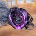 Hajpánt Organza virág hajba való szilveszteri, farsangi, Halloween buli kiegészítő ékszer, Ruha, divat, cipő, Hajbavaló, Hajpánt, Igazán csábító és feltűnő leszel szilveszter éjjel,ha felveszed ezt a fekete lila hajpántot. A marab..., Meska