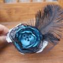 Hajpánt Organza virág hajba való szilveszteri, farsangi, halloween buli kiegészítő ékszer, Ruha, divat, cipő, Hajbavaló, Hajpánt, Igazán csábító és feltűnő leszel szilveszter éjjel,ha felveszed ezt a fekete kék hajpántot. A marabu..., Meska