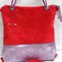 Bőrtáska piros és lila női táska hátizsák super divatos egyedi dartab, Táska, Válltáska, oldaltáska, Bőrtáska piros és lila női táska hátizsák super divatos egyedi dartab  Bélése pamutvászon dupla zseb..., Meska