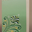 Zöld sárga indás kézműves képeslap, Naptár, képeslap, album, Képeslap, levélpapír, Papírművészet, 10-15 cm, kézzel festett képeslap. 600,- Ft borítékkal együtt., Meska