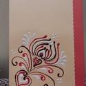 Banra piros indás kézműves képeslap, Naptár, képeslap, album, Képeslap, levélpapír, Papírművészet, 10*15 cm-es, kézzel festett képeslap, borítékkal együtt., Meska