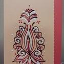 Középen virágmintás kézműves képeslap, Naptár, képeslap, album, Képeslap, levélpapír, Papírművészet, 10-15 cm, kézzel festett képeslap. 600,- Ft borítékkal együtt., Meska