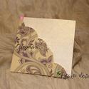 Esküvői meghívó, Esküvő, Meghívó, ültetőkártya, köszönőajándék, Papírművészet, Kinyitható esküvői meghívó, melyet egy mintás