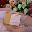 Esküvői meghívó, Esküvő, Meghívó, ültetőkártya, köszönőajándék, Papírművészet, Elegáns, arany színű szalaggal szegélyezett meghívó, bal oldalán mintás, transzparens papírral dísz..., Meska