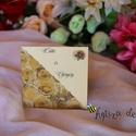 Esküvői meghívó, Esküvő, Meghívó, ültetőkártya, köszönőajándék, Papírművészet, Felnyíló, elegáns meghívó, bal oldalán átlósan egy rózsás transzparens papírral díszítve, jobb olda..., Meska