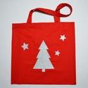 Karácsonyi mintás nagy méretű piros vászontáska, Táska, Szatyor, Válltáska, oldaltáska, Varrás, Karácsonyi mintás nagy méretű vászontáska / bevásárlótáska, piros alapon, rávarrt ezüst csillámos f..., Meska