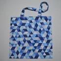 Kék - fehér háromszöges nagy méretű vászontáska, Táska, Szatyor, Válltáska, oldaltáska, Nagy méretű vászontáska / bevásárlótáska, kék - fehér háromszögek mintával, normál hosszúságú pántta..., Meska