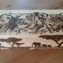 Afrika doboz, Baba-mama-gyerek, Gyerekszoba, Tárolóeszköz - gyerekszobába, Pirográf technikával készült, afrikai állatokkal díszített fedeles doboz. Mérete: Hossz: 250..., Meska