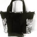Fekete-fehér táska, Táska, Válltáska, oldaltáska, Varrás, A táska mérete: 40x30x12 cm. Két fogója van és jár hozzá egy állítható vállpánt is, ami egy mozdula..., Meska