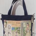 Romantikus farmer táska, Táska, Válltáska, oldaltáska, Varrás, Igazi romantikus, bájos farmer táska! Mérete:40x27 cm a talpa 11cm. Belső zsebe cipzáras és a táska..., Meska
