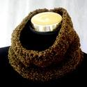 Ősz színű fül és nyakmelegítő 2 az 1-ben, Gyapjú-akril buklé fonalból kötöttem ezt a na...