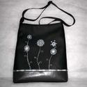 Fekete -szürke festett táska, Táska, Tarisznya, Válltáska, oldaltáska, Textilbőrből készitettem,kézi festéssel.Hátulján kivűl egy cipzáras ,belül a bélésében ..., Meska