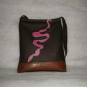 Barna -pink festett táska, Táska, Tarisznya, Válltáska, oldaltáska, Textilbőrből készitettem,kézi festéssel.Hátulján kivűl egy cipzáras ,belül a bélésében ..., Meska