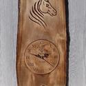lovasóra óra falióra faragott óra lóóra ló , Dekoráció, Kép, Famegmunkálás, 54x24cm 17cm óralappal faragott hársfa, Meska