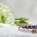 Tiszta Fény, Ékszer, Karkötő, Ékszerkészítés, Swarovski kristály gyöngy és kagylógyöngy karkötő  rose gold cirkonia gömbbel. Termék mérete: 18 cm..., Meska