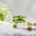 Arany Fény, Ékszer, Karkötő, Ékszerkészítés,  Pearl Swarovski kristály gyöngy és arany tekla gyöngy és roppantott hegyi krsitály karkötő cirkoni..., Meska