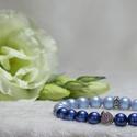 Swarovski light blue gyógyhatású, Ékszer, Karkötő, Ékszerkészítés, Swarovski kristály gyöngy karkötő cirkonia ezüst szívvel.  Termék mérete: 19 cm.  A gyönygyök méret..., Meska