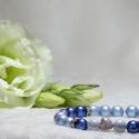 Swarovski light dark blue gyógyhatású karkötő, Ékszer, Karkötő, Ékszerkészítés, Swarovski kristály gyöngy karkötő cirkonia szívvel.  Termék mérete: 19 cm.  A gyönygyök mérete 8mm...., Meska