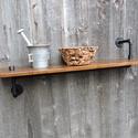 Fa-fém egyedi polc, Bútor, Polc, Famegmunkálás, Fémmegmunkálás, Különleges fa-fém ipari stílusú polc.  A polc sokoldalúan használható, a lakás bármely helyiségének..., Meska