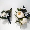 Esküvői selyemvirág szett kitűző és kardísz, Esküvő, Esküvői ékszer, Vintage stílusú selyemvirág szett. Kitűző alapra és gumis kardísz pántra készítettem.  Kit..., Meska