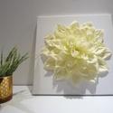 Krém színű selyemvirág kép egyedi , Otthon, lakberendezés, Falikép, Képkeret, tükör, Kb. 30x30cm-es fali dísz. Ezt a selyemvirágszirmokból készült képet polcdísznek, vagy akár a..., Meska