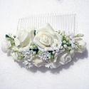 Menyasszonyi hajdísz, Esküvő, Hajdísz, ruhadísz, Gyönyörű habrózsás hajdísz, menyasszonyoknak vagy szalagavatóra.   Személyes átvétel X. kerületben v..., Meska
