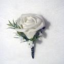 Vőlegény kitűző öltönydísz, Esküvő, Hajdísz, ruhadísz, Habrózsából elegáns esküvői öltönydísz kitűző alapra.  Személyes átvétel X. kerületbe..., Meska