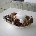 Modern asztaldísz dohányzóasztalra, Otthon & lakás, Lakberendezés, Asztaldísz, Termésekből és száraz virágokból készítettem ezt a modern elegáns és tartós asztaldíszt. A tartója e..., Meska