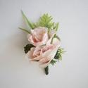 Vőlegény kitűző púder rózsa, Esküvő, Hajdísz, ruhadísz, Púder selyemvirágból készült vőlegénykitűző, kitűző alapra készítettem.  Személyes átvétel X. kerüle..., Meska